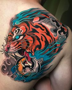 Search inspiration for a Japanese tattoo. Japanese Dragon Tattoos, Japanese Tattoo Art, Japanese Tattoo Designs, Tattoo Designs Men, Traditional Tattoo Knee, Traditional Tattoo Old School, Knee Tattoo, Arm Band Tattoo, Badass Tattoos