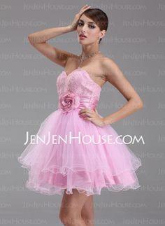 Homecoming Dresses - $133.99 - A-Line/Princess Sweetheart Short/Mini Taffeta  Tulle Homecoming Dresses With Ruffle (022004343) http://jenjenhouse.com/A-line-Princess-Sweetheart-Short-Mini-Taffeta--Tulle-Homecoming-Dresses-With-Ruffle-022004343-g4343
