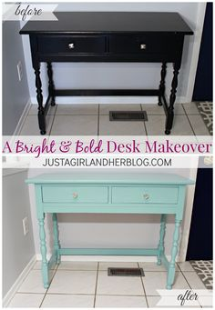 LOVE the color she used for this awesome desk makeover!! #behrmarquee #behrdiyexpert   JustAGirlAndHerBlog.com