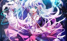 Blaue Augen anime Mädchen tanzen, Kristalle Hintergrundbilder Bilder