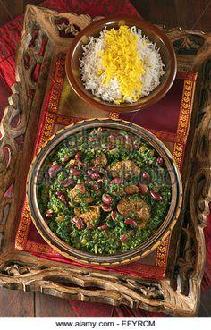 Ghormeh sabzi. Persian green herb stew. - Stock Image