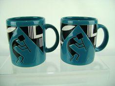 Set of 2 Waechtersbach Kokopelli Coffee Mugs Teal Turquoise Southwest Art Deco #Waechtersbach