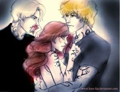 """**gets all deep** I love how this pin shows who clary chooses! but Sebastian is still holding on to one lock of her hair as if he is saying """"I will always be a part of you"""" to clary.. And jace is looking at Sebastian, but clary won't.. And also it looks like clary is naked which is kind of weird.."""