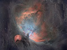Orion Nebula: Modern digital cameras can detect light too faint for the naked human eye. In rendering this information as an image we can understand, astronomy photographers must make practical and aesthetic choices about contrast, brightness and colour. Here, the photographer has chosen a subdued palette to emphasise the delicate structure of the nebula's dust clouds