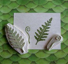 Hand Carved Fern Stamp Set by EnchantingStamps on Etsy, $14.00