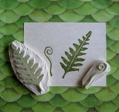Hand Carved Fern Stamp Set