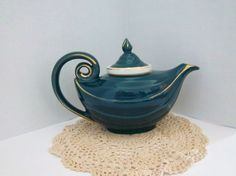 VINTAGE HALL CHINA Dark Turquoise Aladdin teapot