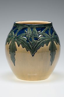 Newcomb Pottery vase An okra motif beautifies this 1903-era Newcomb Pottery vase, decorated by Roberta B. Kennon. Joseph Meyer was the potter. (Newcomb Art Collection; Photo by Owen Murphy)