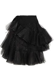 Junya Watanabe Tiered wool-gabardine and tulle wrap skirt