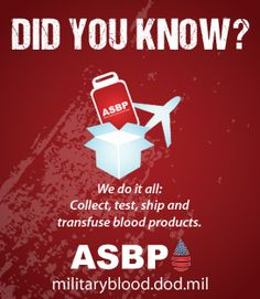 Did you know? The Armed Services Blood Program does it all!!! We collect, test, ship and transfuse blood products worldwide. All 'in-house'. #militaryblood #give2RWB #findthedrop #donateblood #supportthetroops #dyk