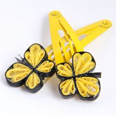 Yellow+Butterfly+Hairclips++Handmade+Paper+Quilling+by+HoneysHive,+$25.00