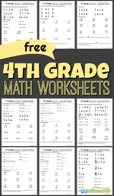 FREE grade math worksheets - lots of free printable math worksheets for grade 4 to get extra practice, plus how to turn worksheets into a math game with mad minutes Free Printable Math Worksheets, Homeschool Worksheets, Science Worksheets, Homeschool Math, Math Division Worksheets, Capacity Worksheets, Homeschooling, Printables, 4th Grade Math Test