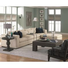 Bernhardt Como  Contemporary Sectional Sofa with Modern Living Room Style
