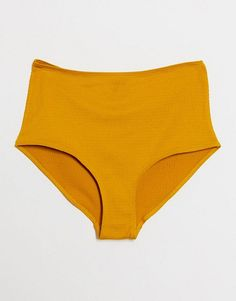Monki Gertrude high waist bikini bottoms in yellow High Waisted Bikini Bottoms, Monki, Bikinis, Swimwear, Asos, Yellow, Fashion, Moda, High Waist Bikini
