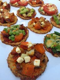 nesscooks: Mini Cauliflower Pizzas Cauliflower Crust Pizza, Baked Potato, Nom Nom, Delish, Healthy Living, Veggies, Appetizers, Snacks, Mini