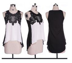 USD 5.29-6.46/pieceUSD 3.06-3.36/pieceUSD 3.75-5.56/pieceUSD 2.34-3.19/pieceUSD 3.92-6.32/pieceUSD 4.40-5.22/pieceUSD 3.87-6.30/pieceUSD 2.74-5.62/piece New summer Style women fashion Sleeveless blouse Top sexy lace Splicing chiffon Blouses Shirts Size: M (Bust 88cm; Front Length 62cm; Back Length 81cm)Size: L (Bust 90cm; Front Length 63cm; Back Length 82cm)Size: XL (Bust 94cm; Front Length 64cm; Back Length 83cm)