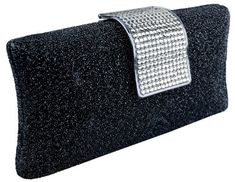 Damara Fashion Womens Clutch Evening Bag Purse Slippery Satin Rhinestone