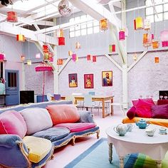 Cute fun n bright from hanging lanterns interior but maybe change the colors to were there not so girly.