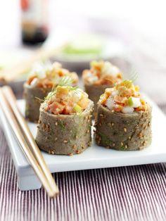 sushis bretons ? Avec des crêpes de farine de sarrasin dans lesquelles on met un tartare de saumon maison.