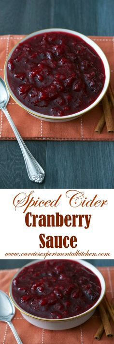 Spiced Cider Cranberry Sauce made with fresh whole cranberries slowly simmered in apple cider, sugar and pumpkin pie spice will make a tasty addition to your Thanksgiving table.
