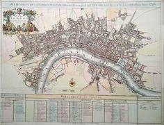 Antique Map of London Westminster Southwark in 1720 for sale London Map, Rare London, Old London, London City, Buckingham House, Map Maker, Fleet Street, New River, Compass Rose
