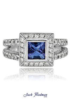 Halo tanzanite and diamond ring with split band jackfriedman.co.za Halo Engagement Rings, Beautiful Things, Heart Ring, Sapphire, Band, Diamond, Vintage, Jewelry, Sash