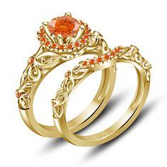 Engagement Ring Set Yellow Gold Finish 925 Silver Round Orange Sapphire 115 CT