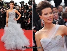 follow Kate Beckinsale's look in pale blue Marchesa