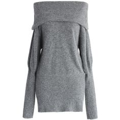 Chicwish Softhearted Mohair Knitted Dress in Grey (€59) ❤ liked on Polyvore featuring dresses, grey, long gray dress, long pencil dress, off the shoulder dress, collared dresses and grey dresses