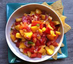 Fresh Peach, Mango and Nectarine Salsa by A Cedar Spoon