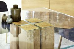 Glas Holz Esstisch Alria