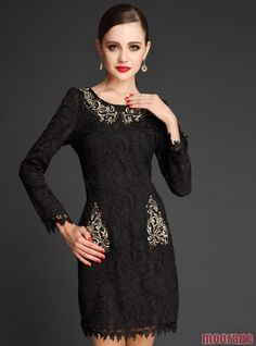 Women Temperament Slim Dress Embroidery Long Sleeve Dress