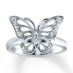 A lovely butterfly is the focal point of this darling sterling silver ring for her. Diamond accents complete the look.