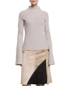 Ribbed Turtleneck Sweater, Quartz - Derek Lam
