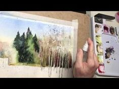 Watercolor demo painting: sunny winter day, feels like a spring coming Watercolor Landscape Tutorial, Watercolor Video, Watercolor Landscape Paintings, Watercolor Trees, Watercolour Tutorials, Watercolor Techniques, Watercolour Painting, Painting & Drawing, Watercolors