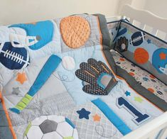 New 8pcs Embroidered Base Ball Sports Boy Baby Cot Crib Bedding Set 5 items includes Quilt Bumper Fitted Sheet Nappy bag Blanket-in Bedding ...