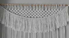Curtain Boho hand-woven in macramé.Corina of white cotton.Panel de Macramé.Cortina hand-woven.Panel white for windows.  #corina #cotton #curtain #macrame #panel #white #woven