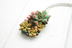 Christmas SALE Green Pink Succulent Necklace Pendant by EtenIren