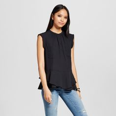 Women's Button Front Peplum Top