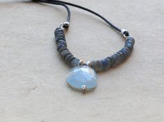 Labradorite necklace with labradorite, big aquamarine nugget, sterling silver and leather. Sundance style jewelry