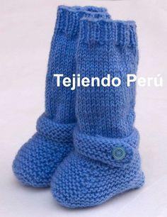 Cómo tejer botitas largas en dos agujas o palitos para bebés