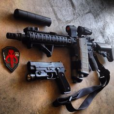 AR-15 with aimpoint micro and Sig Sauer p220 with streamlight