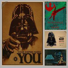 Vintage Star Wars Poster Retro art Wall home Decoration Movie poster Wall stickers p006 ** Haga clic en la VISITA botón para ver los detalles