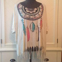 Title Unknown flowy top Very cute barely worn extremely good condition! Fringed on the bottom with cool designs!!! Urban Outfitters Tops