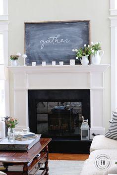Spring Chalkboard Mantel - Decorate your mantel simply for spring with this easy DIY chalkboard