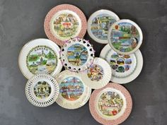There's so much vintage prettiness in the Kolorize online store that we don't know where to point our peepers first. Hanging Plates, Plates On Wall, Plate Wall, Vintage Plates, Vintage China, Hand Painted Plates, Decorative Plates, Plate Collage, Plate Display