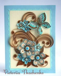 Quilling picture - Love quilling picture - Birthday quilling picture - exquisite stylized flowers in brown and blue colors.