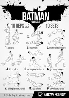 Batman Workout 100 no-equipment workouts by Neila Rey 100 Workout, Neila Rey Workout, Sixpack Workout, Workout Guide, Workout Challenge, Workout Plans, Goku Workout, Fitness Workouts, Hero Workouts