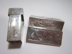 Vintage engraved silver lipstick case with by dejavuvintageretro, $48.00 Etsy Free Shipping, Lipstick Case, Vintage Accessories, I Shop, Amethyst, Decorative Boxes, Mirror, Pretty