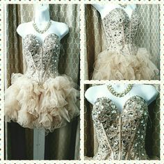 Gorgeous Sherri Hill Nude color Short Prom dress Preowned! I have not brought to dry cleaning yet:)size 4/6 Sherri Hill Dresses Prom